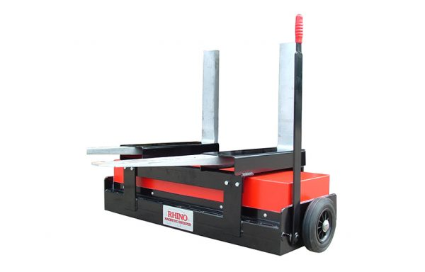 Forklift magnetic sweeper with release mechanism