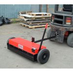 The towable magnetic sweeper is adjustable and can be hitched to vehicles and plant machinery