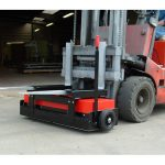 The 1200mm Forklift Magnetic Sweeper on an industrial site